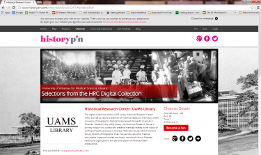 Screenshot of the UAMS HistoryPin Channel
