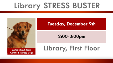 Stress Reducer Tuesday, December 9, 2-3pm