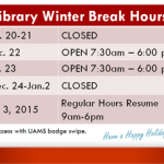 UAMS Library Winter Break Hours