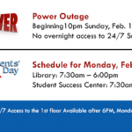 Presidents Day and Power Outage Closures UAMS Library Web Page Banner