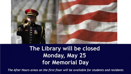 Library Closes Monday, May 25th For Memorial Day