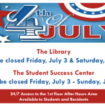 library and student success center closures for July 4, 2015